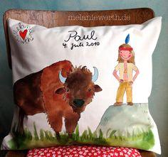Indianer mit Büffel, Kissenbezug aus Bio-Baumwolle für Kinder
