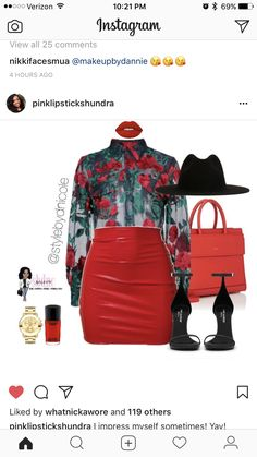 80253dc3907e7 Red roses and leather skirt plus size outfit. Shi Rogins