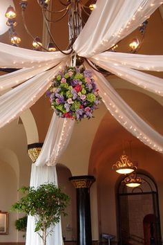 Fabric decor and lights at Grosse Pointe Yacht Club~~~Do something like this for center of tent where the dancing will be?~~~