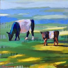 Two Cows, Warm and Cool - 20x20 - Katie Jacobson Art .jpg