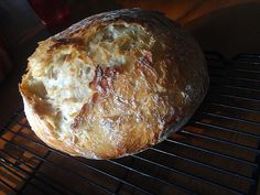 Crusty Artisan Boule Bread adapted from Simply So Good and The New York Times  3 cups all-purpose flour, or bread flour  2 tsp. salt  1/2 tsp. yeast  1-1/2 cups water