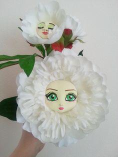 Alice in Wonderland White Peony Flowers by CreartiveStudios