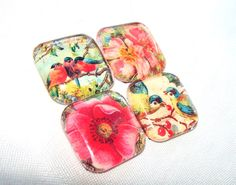 birds and flowers glass magnet set