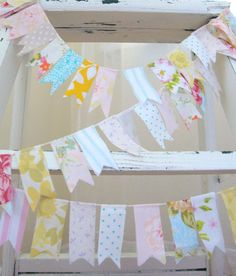 Vintage Fabric Garland Bunting- A String of Lovely- Made to Order. $16.00, via Etsy.