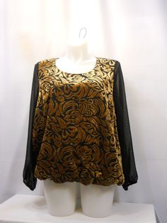PLUS SIZE 2X Womens Top STYLE&CO Paisley Black Copper Long Sleeves Scoop Neck   #StyleCo #Blouse #EveningOccasion
