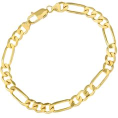 Citerna 9 ct Yellow Gold 12.7 g Figaro Bracelet of 22cm/8.5 Inch Length and 7 mm Width