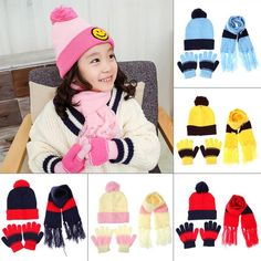 d0002d5a6b8 3pcs Winter Baby Hat Scarf Gloves Set Warm Autumn Children Knitted Beanie  Caps Fashion Infant Boy Girl Ball Cap Cute Kids Hats