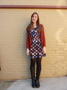 Cute dress + comfy boots and cardi = my type of outfit! I love the combo rust + blue. :D (From What Would a Nerd Wear)