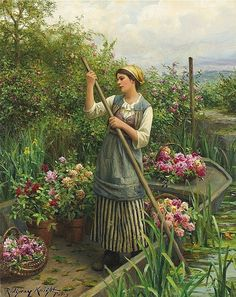 Daniel Ridgway Knight (American-born French genre painter, 1839-1924) Gathering Flowers along the River