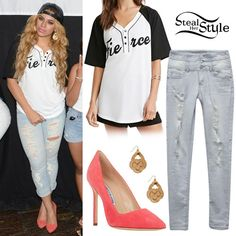 Dinah Jane Hansen posed with her bandmates and fans in Houston wearing the Fierce Graphic Baseball Henley ($17.90) and Twisted Knot Drop Earrings (Sold Out) both from Forever 21, jeans similar to these from Wet Seal ($29.50) and a pair of Manolo Blahnik Suede Bb Pumps ($595.00).
