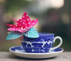 China tea cup with handmade fabric floral corsage
