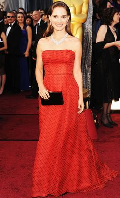 Shades of Red—Natalie Portman  There's nothing like a classic red: Natalie Portman's dotted Dior is from the house's 1954 collection.