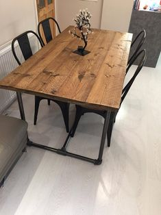 Scaffold board-industrial steel tubing-heavy duty-dining table   Etsy Rustic Wooden Table, Wooden Dining Tables, Modern Dining Table, Dining Room Table, A Table, Skinny Kitchen, Pipe Table, Luxury Dining Room, Diy Furniture Projects