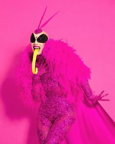 """""""Furry, painted nocturnal creature attracted to artificial light; uses long straw for drinking nectar; drawn to musty old clothes. Fashion Today, Only Fashion, Pink Fashion, Rupaul Drag Queen, Drag King, Theatre Costumes, Club Kids, Luz Natural, Headpiece"""