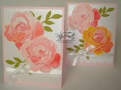 handmade cards: Watercolor rose cards by Patty Bennett ... well-loved technique and stamps ... Stampin'Up!