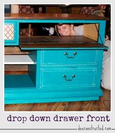 add a drop down drawer front for easy electronics access | deeconstructed.com