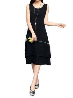 Only US$21.00 , shop Elegant Women Fake Two-piece Sleeveless Cotton Linen Dress at Banggood.com. Buy fashion Vintage Dresses online.