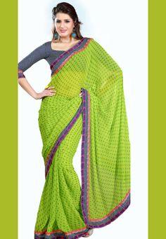 Green Color Georgette-Chiffon Designer Saree