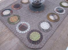 Wool penny rug wool table runner by granniesraggedybags on Etsy, $30.00