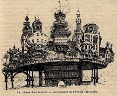 Robida - Au sommet de l'Arc de Triomphe