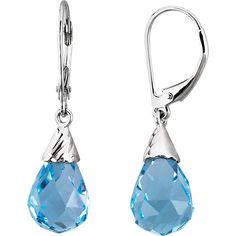 14K White 12x8 Briolette Swiss Blue Topaz Earrings