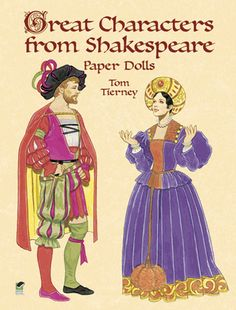 Two dolls, 30 detailed period costumes from  Romeo and Juliet, Hamlet, Othello, The Tempest, The Merchant of Venice, Macbeth, Henry V, Richard III,  and 7 other great plays.