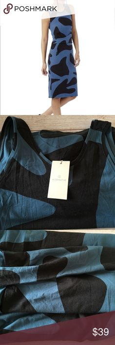 🌺ALTERNATIVE APPAREL TankTopDress🌺 NWT Sz L. Women's Blue Downtown Printed Cotton Modal Tank Top Dress. Smoke and pet free. Super cute! #alternativeapparel #tanktopdress #comfydress Alternative Apparel Dresses Midi