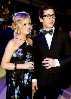 Amy Poehler and Andy Samberg attend the 2014 Vanity Fair Oscar Party Green Bow Tie, Green Silk, Black Silk, Andy Samberg, Silk Bow Ties, Amy Poehler, Looks Black, Vanity Fair Oscar Party, Black Dress Pants