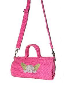 Вязание крючком Летние сумка кошелек Овальные Жимолость розовый Женщины по Aimarro