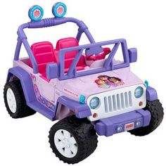 Fisher-Price Power Wheels Dora and Friends Jeep Wrangler 12-Volt Battery-Powered Ride-On - Walmart.com