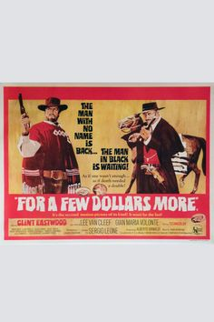"A scarce and desirable format for this Clint Eastwood/Sergio Leoni ""spaghetti"" Western. The British quads have always been much more challenging to find than the American posters due to the quantity printed being far less. This British quad features the very best art format for the second in the Clint Eastwood ""Dollars"" trilogy. Great images of Eastwood and Lee van Cleef.  Title: For a Few Dollars More Actor / Actress: Clint Eastwood, Lee Van Cleef Nationality: Original British Quad Year…"