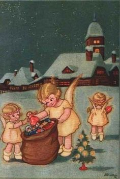Angels giving gifts on Christmas. - Vintage Christmas Card
