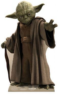Kartonowa dekoracja przedstawiająca Mistrza Yodę
