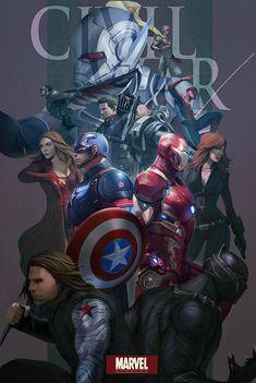 Captain America: Civil War by ong jojo on ArtStation. Marvel Avengers, Marvel Vs Dc Comics, Arte Dc Comics, Marvel Fan, Marvel Memes, Marvel Universe, Fan Art Pokemon, Die Rächer, Captain America Civil War