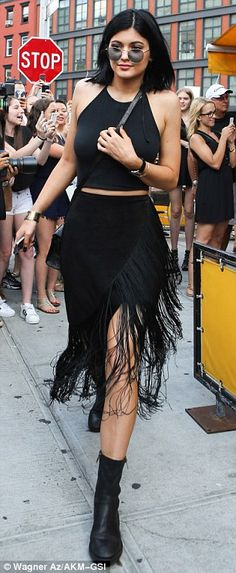 Kylie Jenner Black Skirt August 2017