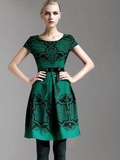 Morpheus Boutique  - Green Pattern Cap Sleeve Celebrity Pleated Dress