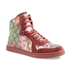 Gucci's new special edition Blooms print and rose-hued suede highlight the signature double G on canvas sneakers done in an urbane, high-top silhouette.  A ton…