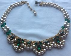 Vtg Miriam Haskell Signed 2 Strand Pearl Green Rhinestone Bookchain Necklace | eBay