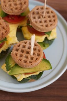 Mini Waffle Breakfast Sandwiches! Quick, easy to make and healthy! Made with Van's Mini Waffles, these are the perfect back to school breakfast to get kids (and