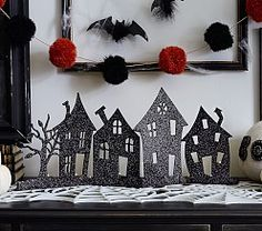 Haunted Village Mantel Decor While Pottery Barn's site doesn't have any Halloween items up on their site yet, their Pottery Barn Kids . Halloween Inspo, Halloween Dinner, Halloween Projects, Holidays Halloween, Halloween Kids, Vintage Halloween, Halloween 2018, Haunted House Decorations, Halloween Decorations