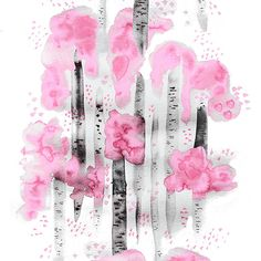 Design: BJÖRKAR (pink) Designer: Louise Videlyck (Sweden)  Manufacturer: Arvidssons Textil Composition: 100% Cotton Width: 140 cm  Repeat: 260 cm