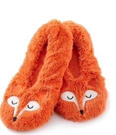 Fuzzy Babba Women's Fox Critter Orange Faux Fur Slippers M/L 7.5-9 US