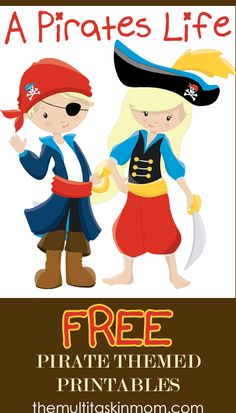Pirate Activities: A Pirates Life FREE Pirate Themed Printables. Pirate Day, Pirate Life, Pirate Birthday, Birthday Fun, Birthday Parties, Preschool Pirate Theme, Pirate Activities, Preschool Themes, Preschool Lessons