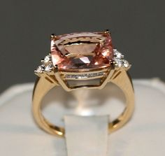 Curations NYC's, AAA grade Morganite, with D,E,F Colorless diamonds all in 14K Gold. Included is an Independent Complete G.A.L. Appraisal Document SOLD OUT