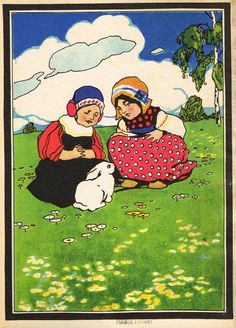 """Antique Children's Print - """"TWO GIRLS WITH BUNNY"""" - Printed in Checkoslovakia - 1928"""
