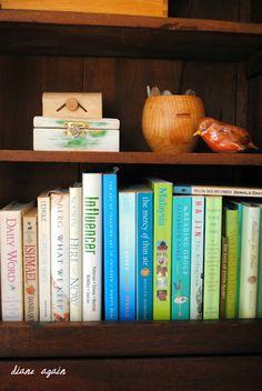 living room. black walnut cupboard shelf.  turquoise, green, white books.
