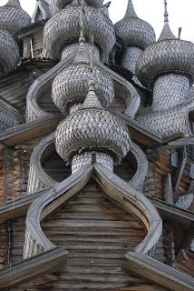 Cathedral of the Transfiguration in Kizhi Island, Northern Russia.....The domes are covered in aspen shingles which last about 40 years.