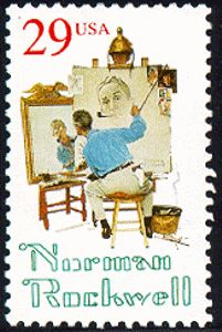 Norman Rockwell doing self-portrait US Postage Stamp