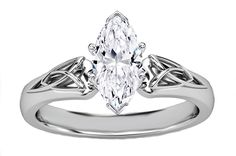 Engagement Ring - Marquise Diamond Triquetra Celtic Engagement Ring in 14K White Gold - ES835MQWG