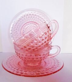 Depression Glass Pink Hobnail Cups and Saucers 1930s. $20,00, via Etsy.